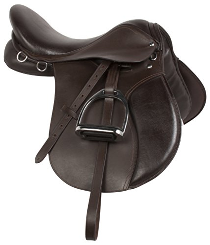 English Saddle Package (PREMIUM BROWN LEATHER ENGLISH ALL PURPOSE CLOSE CONTACT JUMPING HORSE SADDLE TACK STARTER PACKAGE SET 15 16 17 18 (16))
