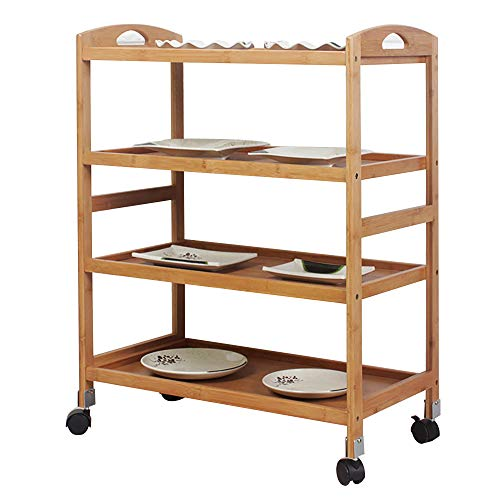 soges Storage Kitchen Cart Serving Bar Cart Utility Trolley Organizer Rack with 4 Shelves for Living Room, Bathroom, Bamboo, KS-ZC-07
