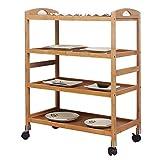 Soges Bamboo Kitchen Serving Storage Trolley 4 Tiers Kitchen Shelf on Wheels,Bathroom Rack,KS-ZC-07-CA