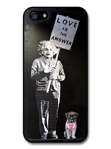 Love is the Answer Albert Einstein Dog Banksy Graffiti Quote coque pour iPhone 5 5S