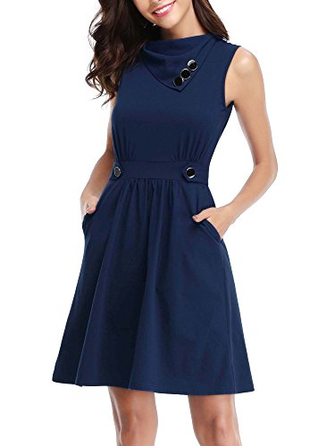HUHOT Work Dress, Womens Sleeveless Cowl Neck Dress with Flared Tank Dress for Evening(Navy,XX-Large) Cowl Neck Tank Dress