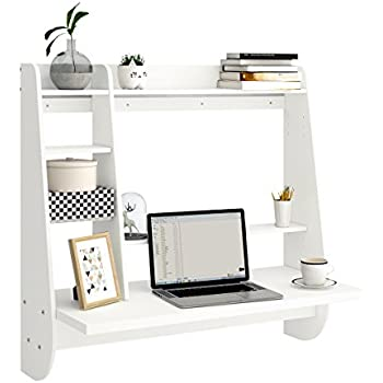 Merveilleux Wall Mount Floating Desk With Storage (White)