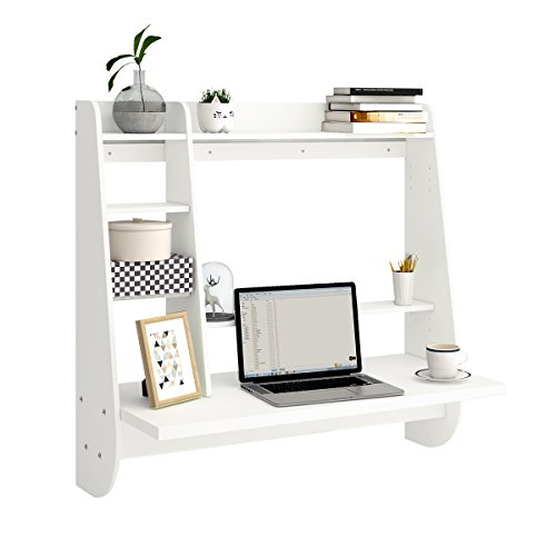 Wall Mount Floating Desk with Storage (White)
