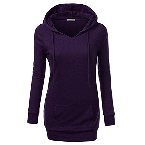 Women Tops, Gillberry Womens Long Sleeve Top Hooded Casual Sweatshirt Solid Coat (Purple, - Eyeglasses Nyc
