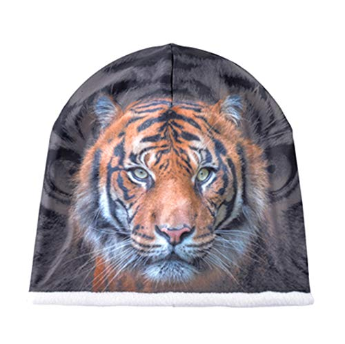 MJ-Young Animals 3D Stereoscopic Pattern Hats for Men Winter Beanies Double Velvet Skull Cap Women Hip Hop Cap Tiger White OneSize ()