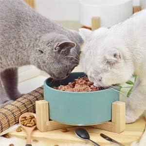 Paquete de 1 LinTimes Cat Bowl Dog Bowl Alimentador de Gran Capacidad con Marco de Madera Suministros para Mascotas antivuelco