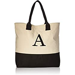 Kate Aspen, Monogram Tote Bag, Canvas, Classic Black and White, A