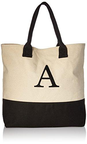 (Kate Aspen, Monogram Tote Bag, Canvas, Classic Black and White, A)