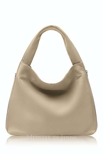 Montte Di Jinne - | 100% Soft Italian Leather | Shoulder Bag|Luxury Gift for Women| Light Taupe