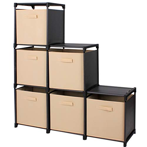 Rack Style Cabinets - Mockins 3 Tier Storage Rack Bookcase Shelf Bundle with 6 Foldable Cube Storage Bins That Perfectly Fit Into The 6 Cube Closet Organizer Cabinet - Beige Bins … … …