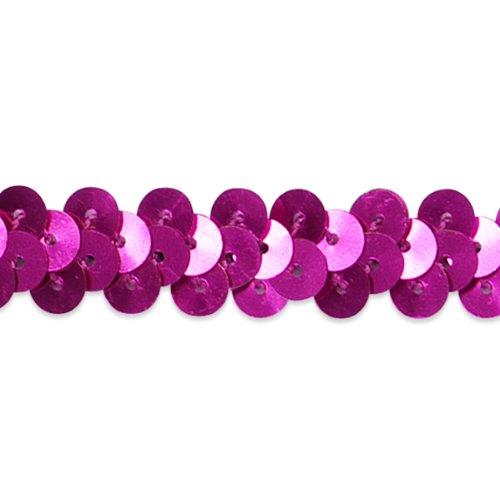Expo International 20-Yard of 1-Row Metallic Stretch Sequin Trim, 3/8-Inch, (Fuchsia Metallic Sequin)