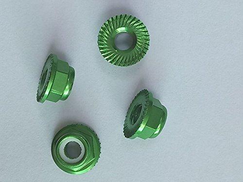 M5 Anodized Aluminium Flange serrated Nylon Insert Hex Locknut for RC model, multicopter 10pcs/pack (Green)