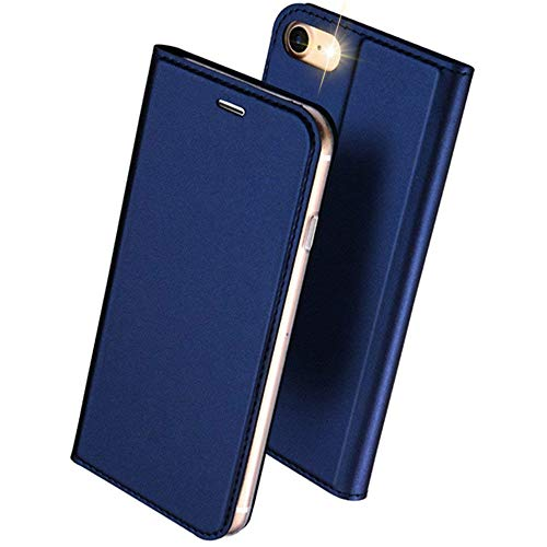 DUXDUCIS iPhone7 iPhone8 케이스 수첩형 합피 레더 내충격 카드 수납 블루
