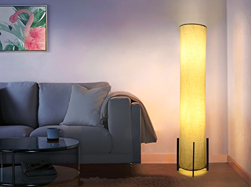HOOOM Floor Lamp 52'' Led Modern Design Wood Base with Double Soft Diffused Linen Fabric Shade, Tall Unique Bedroom Standing Floor Lamp for Living or Family Room, Office, Placed In a Corner Space Saver by HOOOM Floor Lamp (Image #3)