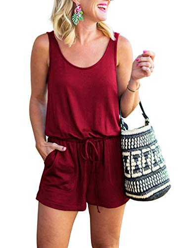 REORIA Womens Casual Summer One Piece Sleeveless Tank Top Playsuits Short Jumpsuit Beach Rompers Burgundy Large (Romper Le Sleeveless Top)