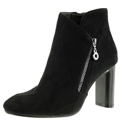 Negro mujer CM Moda alto 9 Zapatillas ancho Tacón metálico boots low Angkorly Botines elegante nYBwTqwOF