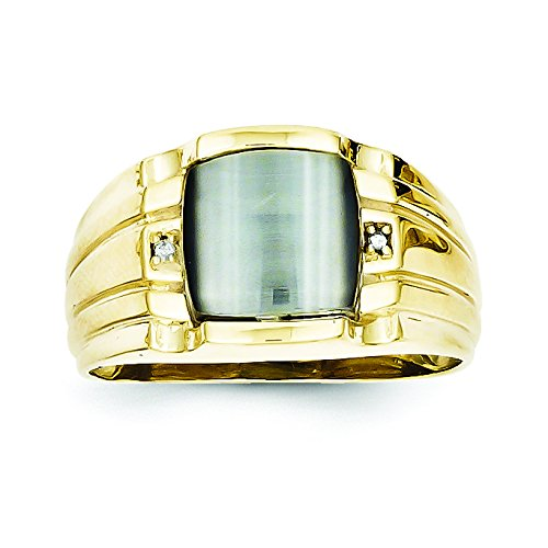 10k Gray Cats Eye & .01ct Diamond Mens R - Cat Eye 10k Ring Shopping Results