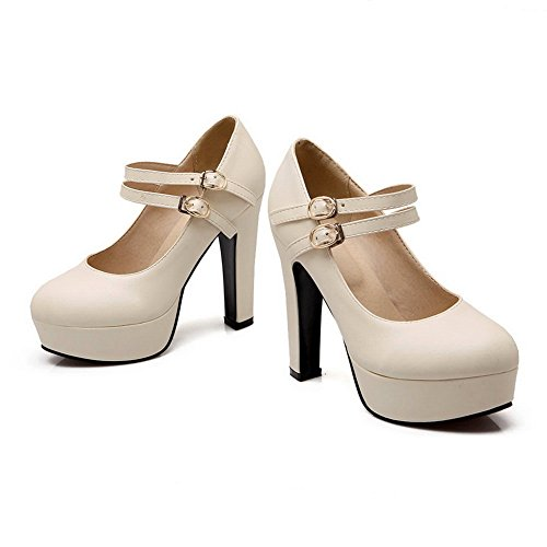 High Beige Ladies Round Toe Pumps BalaMasa Leather Heels Shoes Imitated qFCgC5UHn