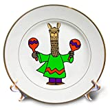 3dRose All Smiles Art - Music - Cute Funny Llama Shaking Maracas Cartoon - 8 inch Porcelain Plate (cp_293159_1)