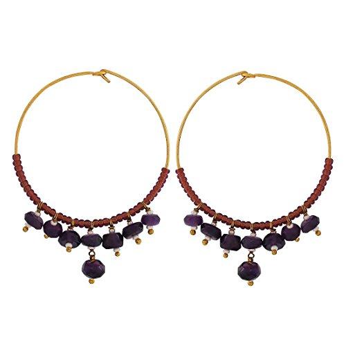 Maayra Designer Earrings Blue Brown Hoops Party Jewellery by Maayra