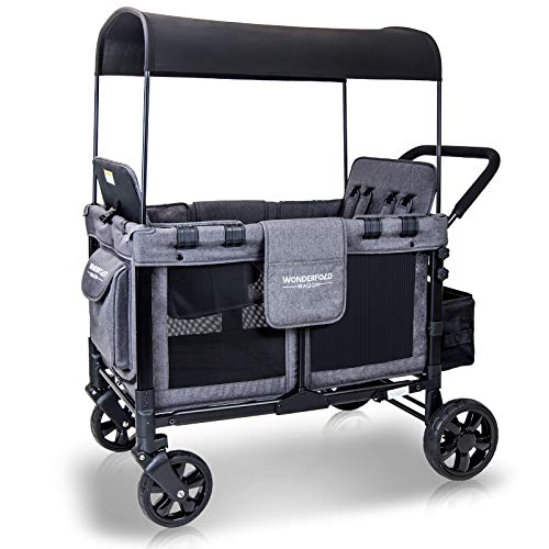 WonderFold Baby Multi-Function Four Passenger Wagon Folding Quad Stroller with Removable Reversible Canopy & Seats Up to 4 Toddlers (Gray/Black)