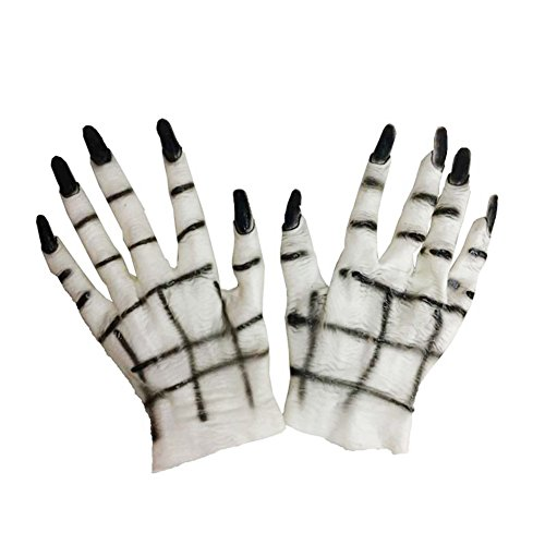 dds5391 Halloween Horror Monster Devil Vampire Ghost Hands Gloves Costume Cosplay Prop White + Black