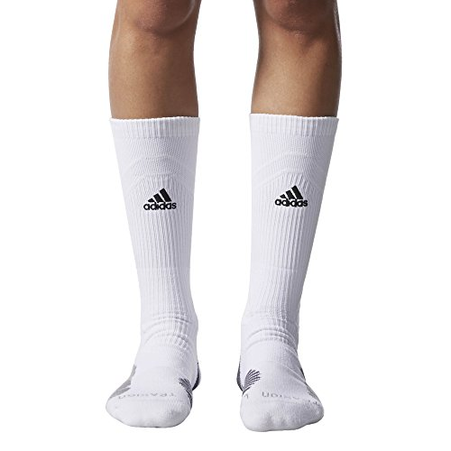 a01514203 adidas Traxion Menace Basketball/Football Crew Socks (1-Pack),  White/Black/Light Onix/Onix, Large