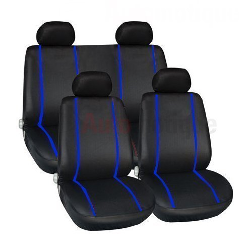 PREMIUM FULL CAR SEAT COVER SET BLUE PIPING HIGH QUALITY