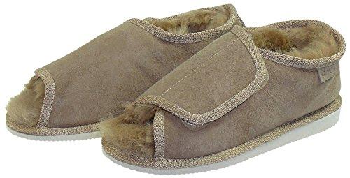 Harrys-Collection Extra Dicke Lammfell Schuhe mit Klettverschluss Beige
