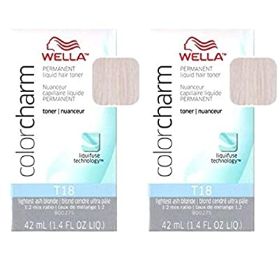 Color Charm Permanent Liquid Hair Color T18 Lightest Ash Blonde (2 Pack)