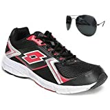 Lotto Men's Vector 1 Black & Red Mesh Running Shoes