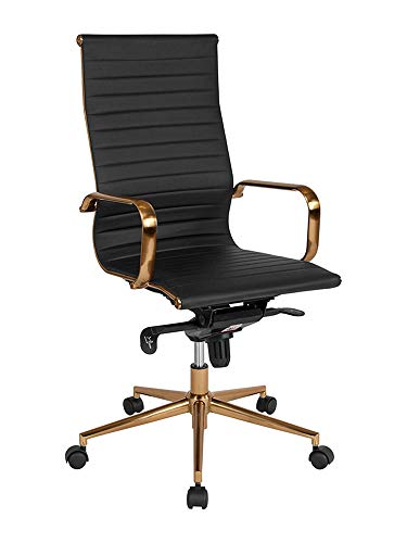 Offex Contemporary High Back Executive Swivel Chair with Gold Frame, Black Ribbed Leather