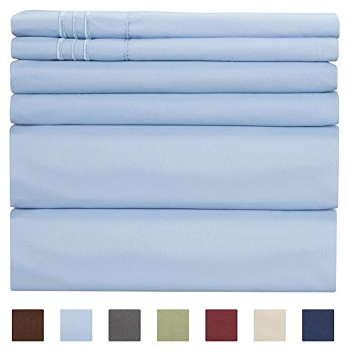 Queen Size Sheet Set - 6 Piece Set - Hotel Luxury Bed Sheets - Extra Soft - Deep Pockets - Easy Fit - Breathable & Cooling Sheets - Comfy - Light Blue Bed Sheets - Baby Blue - Queens Sheets - 6 PC - Comforter Cover 6 Piece Bedding