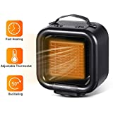 VOSAREA Silent Small Electric Heater Space Ceramic Personal Desk Heater Portable Space Heaters with Oscillating Feature Adjustable Thermostat for Home Office Bedroom with US Plug, Black