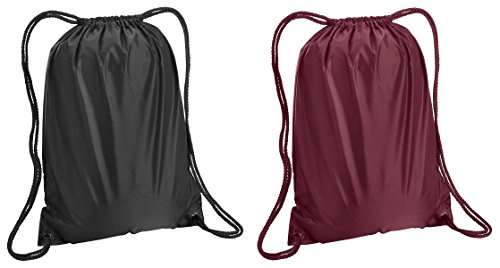 Liberty Bags Boston Sport Drawstring Backpack Bags Set_Black & Maroon_OS