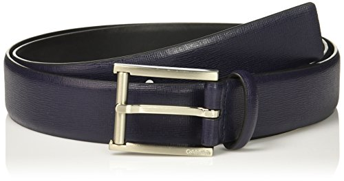 Calvin Klein Mens 35mm Feather Edge Strap Textured Leather Belt