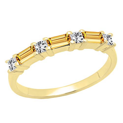 Dazzlingrock Collection 10K 4X2 MM Baguette Citrine & Princess Diamond Ladies Wedding Band, Yellow Gold, Size 9