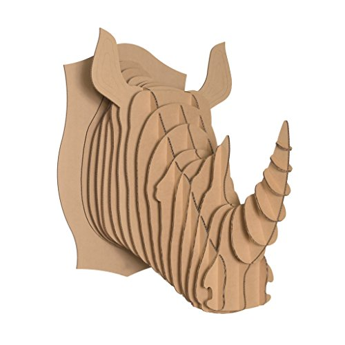Dark Brown Rhino - Cardboard Safari Recycled Cardboard Animal Taxidermy Rhino Trophy Head, Robbie Brown X-Large