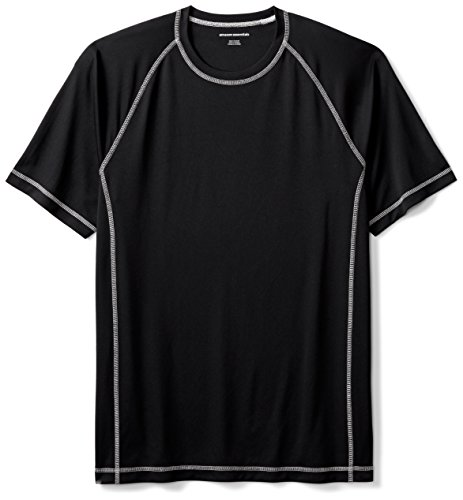 Amazon Essentials Men's Short-Sleeve Quick-Dry UPF 50 Swim Tee, Black, X-Large