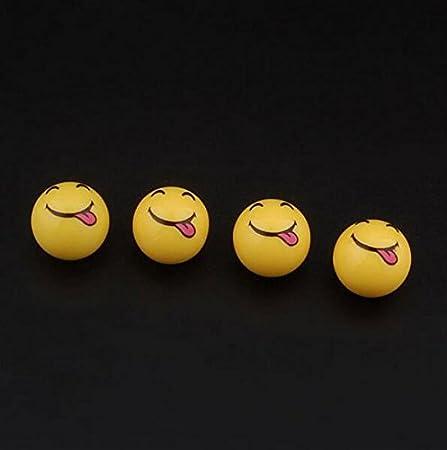 Grin Lexitek 4pcs//Set Mini Emoticon Car Tire Caps Plastic Round Smile Ball Face Expression Shape Auto Wheel Tyre Air Valve Dust Covers