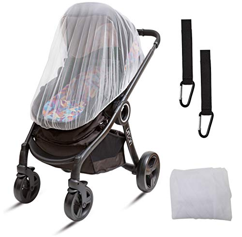 RITMART Premium Mosquito Net Universal + Stroller Hooks (3-Piece Set) for Baby Stroller, Jogger, Car Seat, Carrier, Bassinet, Crib. 50 x 46 Inch, White, Elastic, Durable and Large Insect Netting