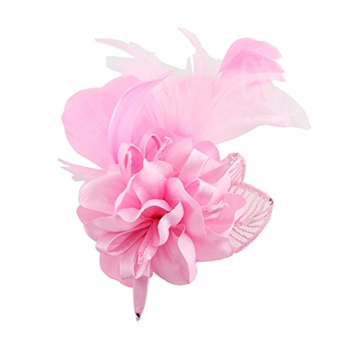 - Song Fascinator Feather Flower Hair Clip Pin Brooch Corsage Bridal Hairband Party Wedding for Women (Pink)