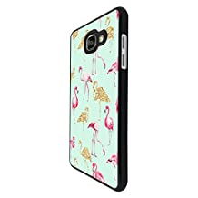 002655 - Collage Flamingo Pink & Gold Design For Samsung Galaxy A5 A500M - 2015 Fashion Trend CASE Back COVER Plastic&Thin Metal - Black