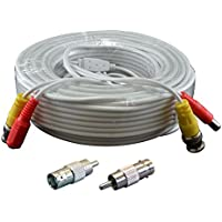 InstallerCCTV 100ft Pre-made All-in-One Video Power BNC RCA Siamese Style Cable for CCTV Security Cameras - White