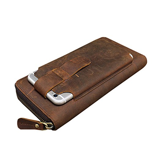 JOSEKO Phone Wallet Case, Genuine Leather Vintage Coin Bag Business Zipper Long 5.5 Inche Phone Wallet for Men Coffee 7.68'' x 0.98'' x 3.94'' (L x W x H) by JOSEKO