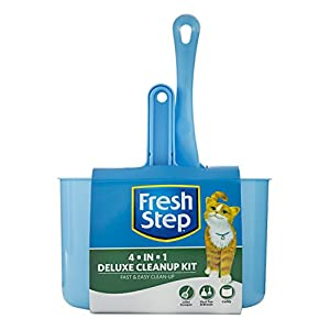 Fresh Step 4 in 1 Deluxe Cat Litter Cleanup Kit | Kitty Litter Cleaning Supplies Includes Scoop, Dust Pan, Broom, Caddy 120