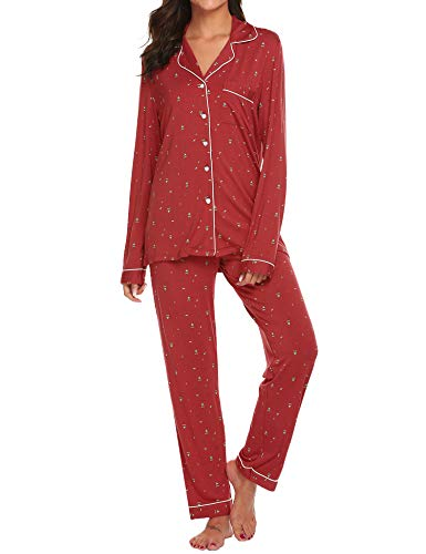 - Ekouaer Sleepwear Women's Red Pajamas Lightweight Two Piece Sleep Set (Christmas Tree,M)