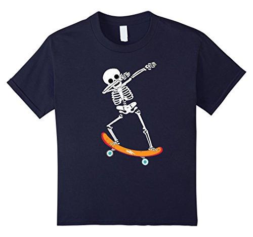 Kids Halloween Dabbing Skeleton Skater Shirt Skull Skateboard Tee 6 Navy