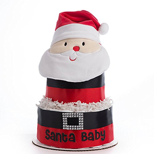 The ''Santa Baby'' Diaper Cake. Gift for Baby's First Christmas or Holiday Baby Shower by Sassy and Sweet Boutique