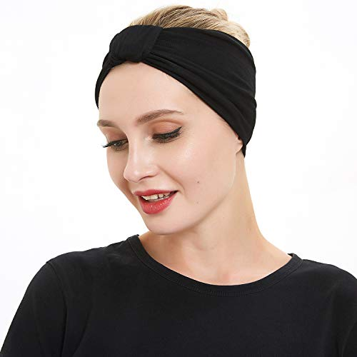 (Women Yoga Fashion Workout Running Athletic Travel. Wear Wide Turban Thick Knotted + More.Original Multi Style Headband. Comfort Stretch & Versatility by Dsane)